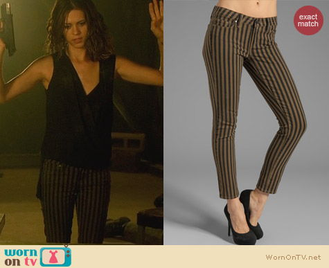 WornOnTV Alexs Striped Jeans And Black Crossover Top On
