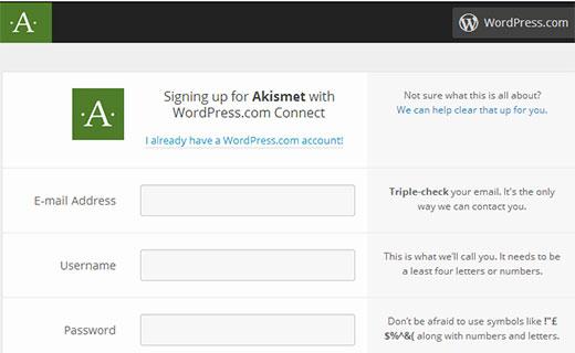 Akismet đăng ký với tài khoản WordPress.com