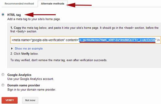 Xác minh quyền sở hữu trang web của bạn trong Công cụ quản trị trang web của Google bằng Thẻ meta HTML