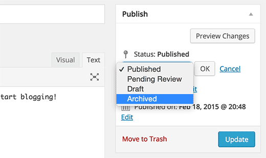 Archived post status in WordPress post editor