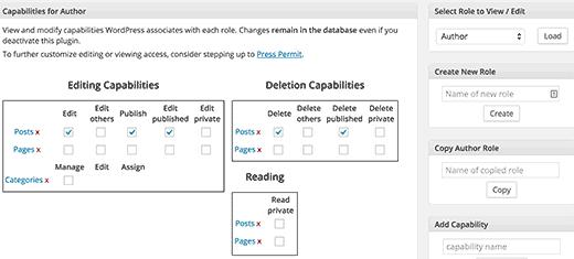 Editing user capabilities in WordPress