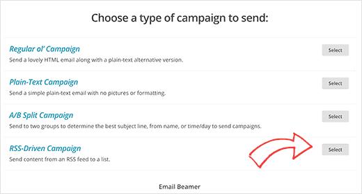 Membuat kampanye RSS di MailChimp