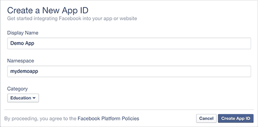 Creating a new Facebook app ID