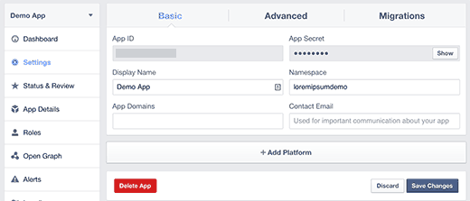 Choose Facebook app platform