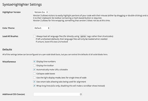 Syntax Highlighter settings page