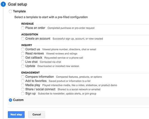 Creating custom goal in Google Analytics