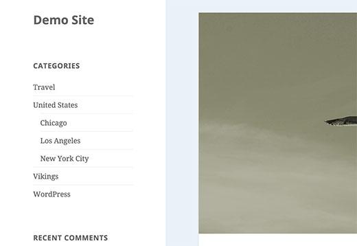 Danh mục và danh mục con trong thanh bên WordPress