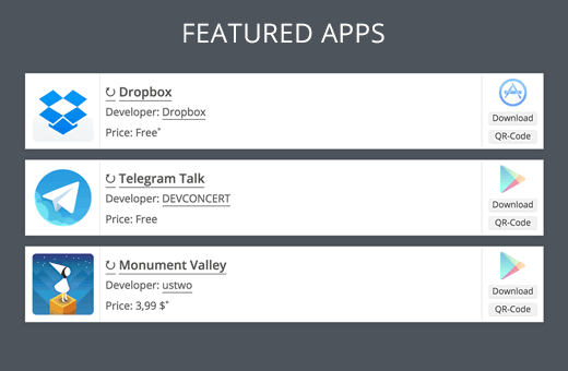 Displaying mobile apps in WordPress with beautiful banners