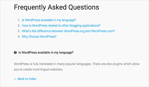 List style FAQs