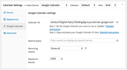 Adding calendar ID in WordPress