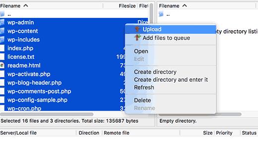 uploading WordPress files using an FTP client