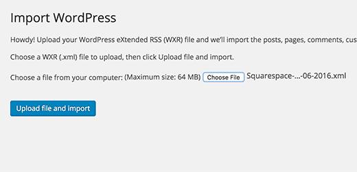 Upload Squarespace export file