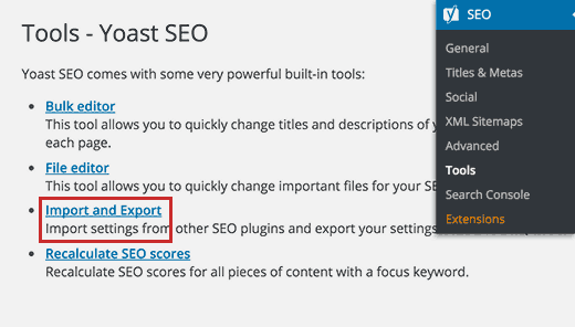 Import and export link on the tools page in Yoast SEO