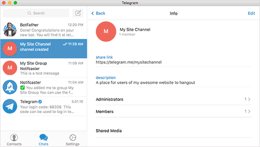 Channel options in Telegram