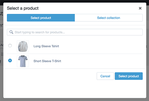 Select a product or collection to add