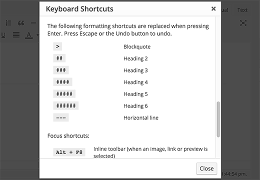 Keyboard shortcuts modal