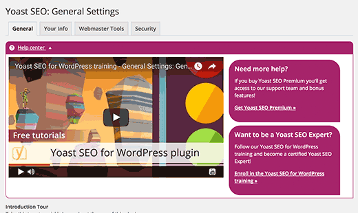 Yoast SEO - on screen help
