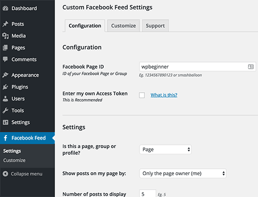 Custom Facebook feed settings