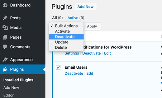 Select and deactivate all plugins in WordPress