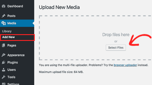Add new image directly to WordPress media library