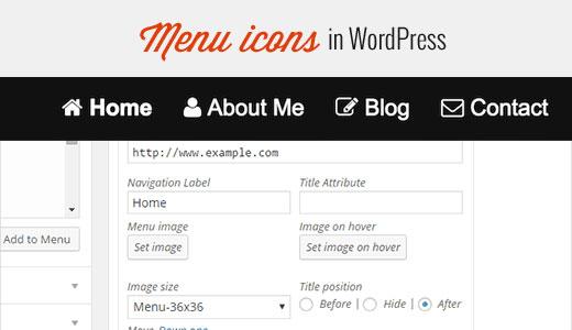 Image icons in navigation menus