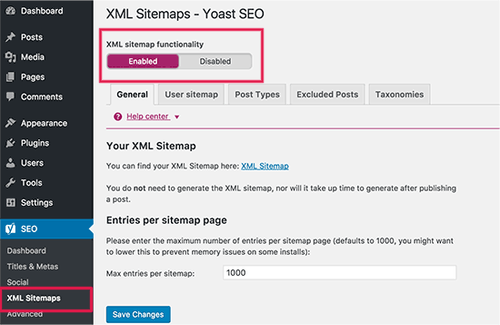 Enabling XML Sitemaps in Yoast WordPress SEO plugin