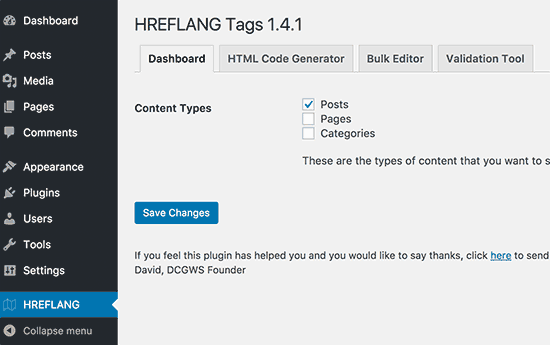 hreflang tag plugin settings