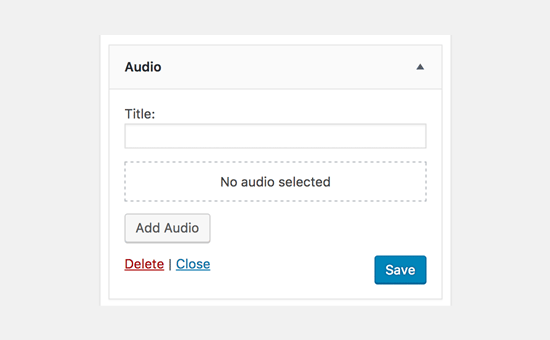 Audio widget in WordPress 4.8