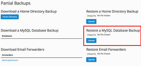 Restore database using cPanel