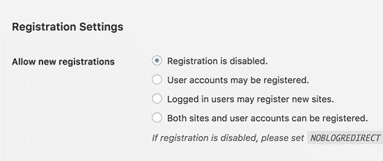 WordPress настройки за многосайтово регистриране