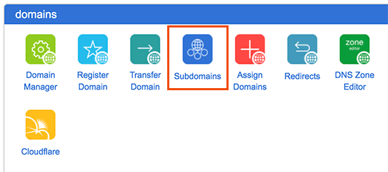 Subdomains in cPanel dashboard