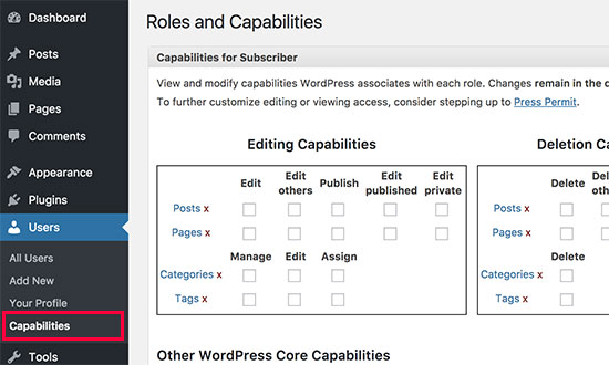 User roles and capabilities manager