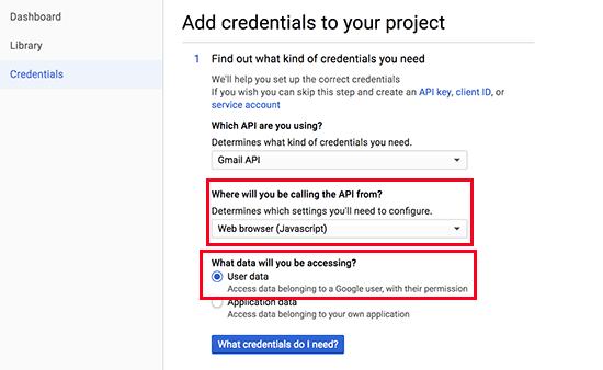 API credentials step 1