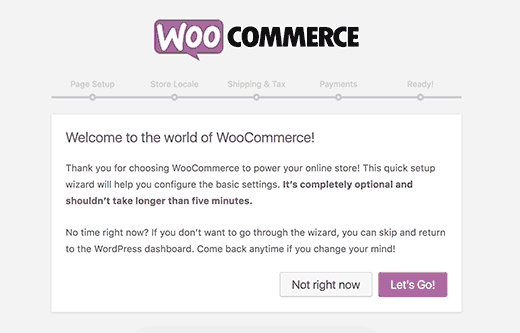 Мастер настройки WooCommerce