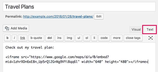 Paste your interactive map code in WordPress