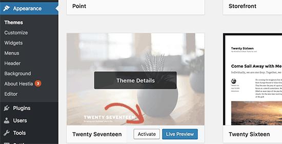 Beralih ke tema WordPress default