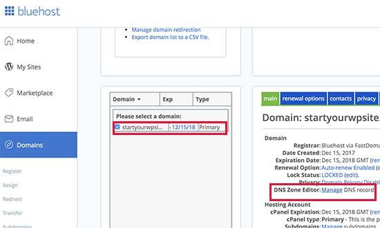 Domain name settings