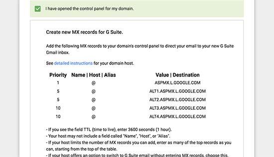 Gsuite MX records