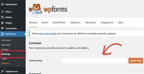 WPForms license
