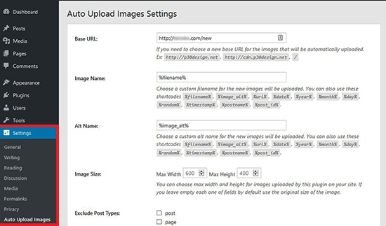 Auto upload images settings
