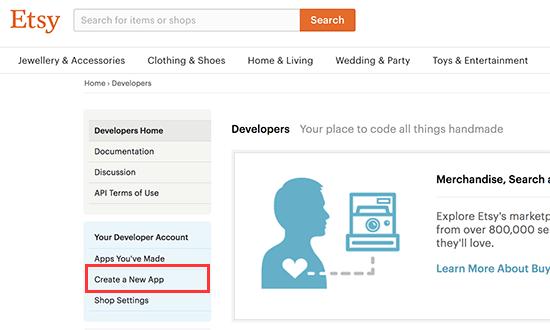 Create new Etsy app