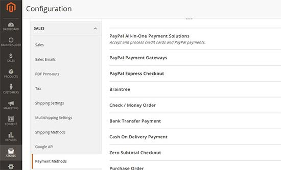 Payment methods in Magento