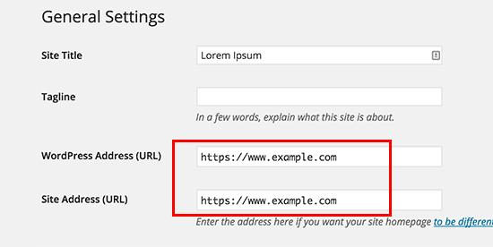 Update WordPress URLs