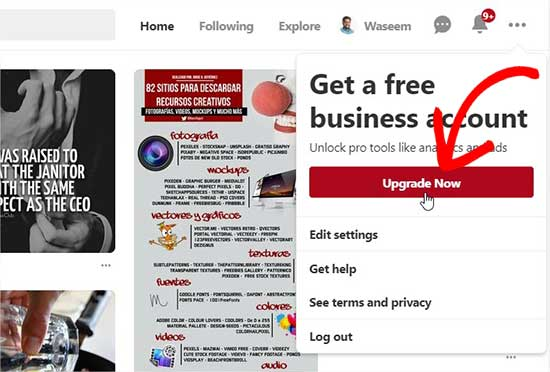Upgrade to Pinterest business account