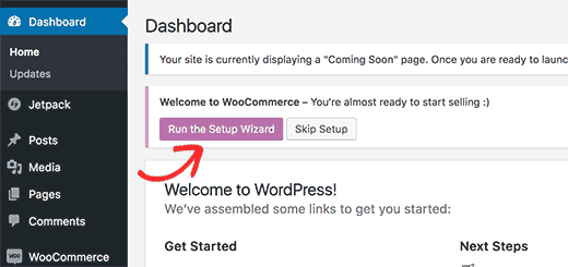 Run WooCommerce set up wizard