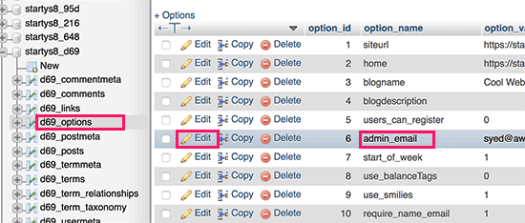 Options table in phpMyadmin