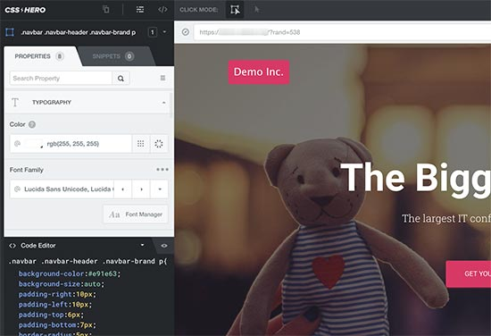 Editing styles for different elements using CSS Hero