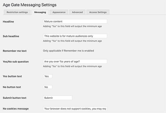 Change age verification messaging