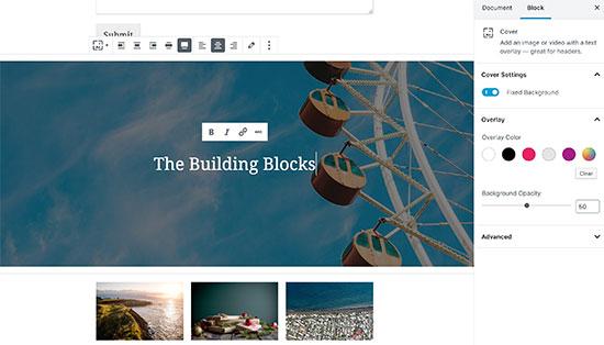 Блок изображения обложки в редакторе Гутенберга