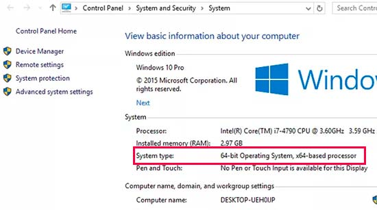Finding operating system type in Windows 10